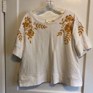 Anthropologie embroidered short sleeve sweatshirt